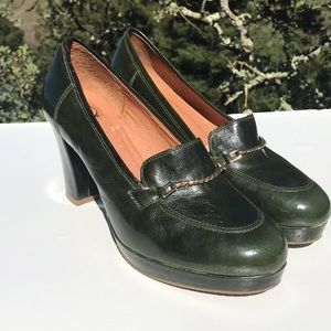 Lucky Penny Green Leather Heels Loafers 8.5